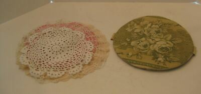 Lot 0f 4 Crochet Round  Doilies Circles w/Handmade Cover Tie Clasp