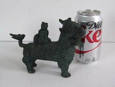Vintage Asian Chinese Bronzed Metal w/Winged Tail  Figure Guardian Lion Foo Dog