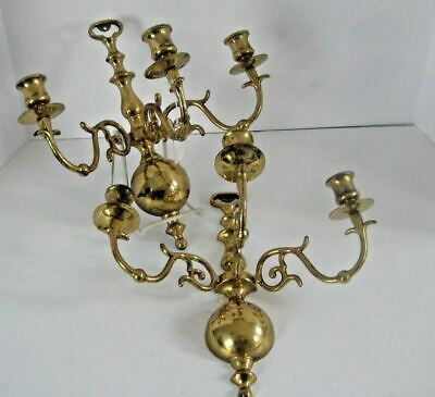 Vintage Solid Brass Pair Of Wald Candle Holders Triple Arm Sconces
