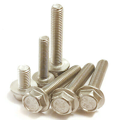 HEXAGON BOLTS Hex Bolt M5 M6 M8 M10 A2 Stainless Steel Flange Head Flanged Screw