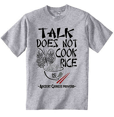 Ancient Chinese Proverb Talk Quote - New Cotton Grey Grey Tshirt