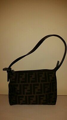 b3e796efdbc7 Authentic FENDI Brown Canvas Small Pouch Hand Bag Purse. Mint condition.