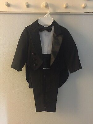 5Pc Formal Tuxedo Suit Wedding Page Boy Christening Outfit Baby Size 6m-24m BV15