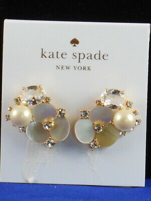 50261a95c Kate Spade Gold DISCO PANSY Mother of Pearl Crystal Cluster Flower Stud  Earrings