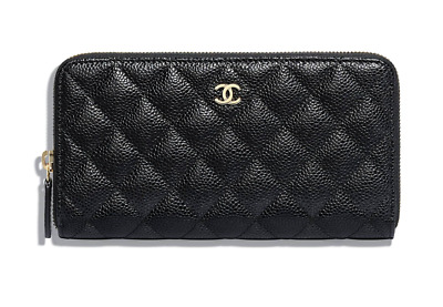 New Authentic Chanel Classic Zipped Wallet, Black Caviar W/ Gold-Tone Hardware