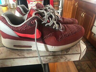 new product 2481e 5a838 Nike Air Max 1 JCRD Jacquard Gym Red Laser Crimson 644153 600 Size 10