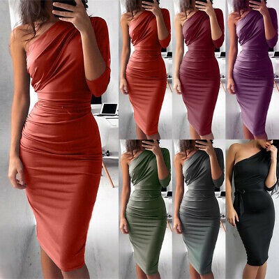 Womens One Shoulder Bodycon Midi Dress Party Prom Cocktail Evening Slim Clubwear