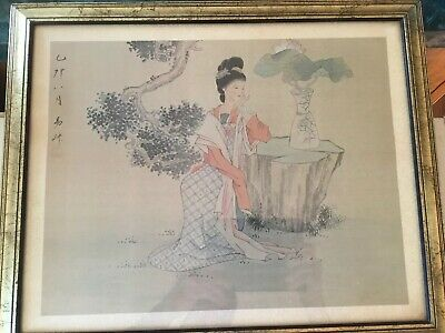 "Asian Art Antique JAPANESE  ""Lady In Japanese Gardens"" 18-1/2x 22-1/2"
