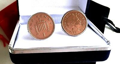 Perfect Gift One New Penny Coins In Cufflinks Years 1971-2016 Available      S9
