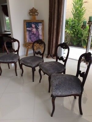 Victorian Dark Carved Wood Antique Empire 5 Dining Chairs Set Five