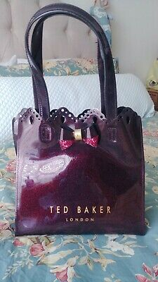 9ba461b56 Ted baker Scalloped tote burgundy glitter. Mint condition!