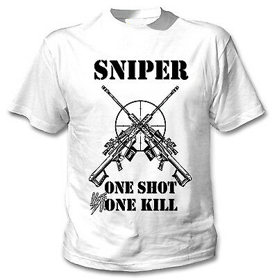 Army Sniper T-Shirt Death From Afar One Shot One Kill Hardcore Military Tee