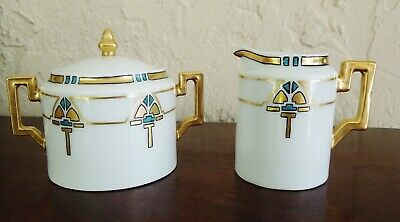 "Porcelain Art and Crafts Era ""Thomas"" Bavaria Sugar and Creamer Set"