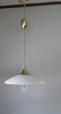 Mid Century Modern Pull Down Atomic Saucer Ceiling Light NOS W/Defect