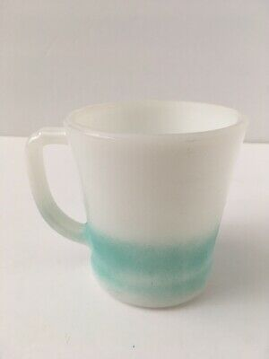 Fire King Anchor Hocking Aqua Teal Turquoise Fade Ombre Coffee D Handle Cup Mug