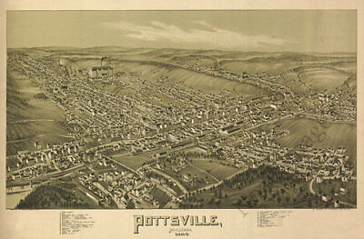Pottsville PA c1889 map 36x24