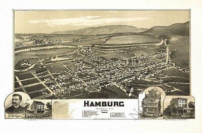 Hamburg PA c1889 map 36x24