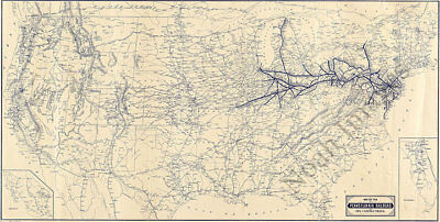 Map of the Pennsylvania Railroad c1889 36x18.75