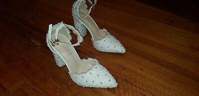 White lace women's wedding shoes female thick flower high heels White lace