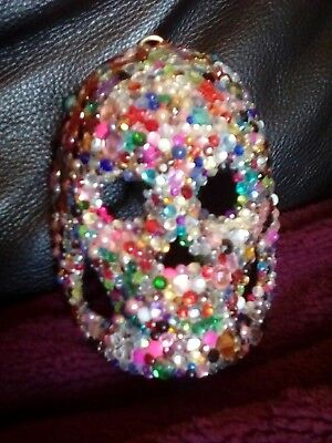 HANDMADE SMALL GEM ENCRUSTED HANGING SKULL MASK quirky gift!! 12 x 9.5 X 6 cm
