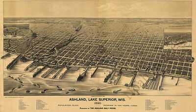 Ashland WI panorama c1890 map 36x21
