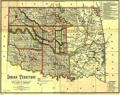 Indian territory OK c1889 map 31x24
