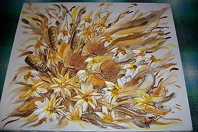 OLD OIL ART PAINTING~Heavy Impasto Floral Abstract Frame Artist signed LEE RYNNE