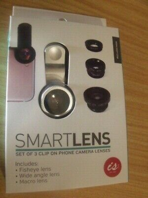 SMART LENS - 3 Clip on Smart Phone CAMERA LENSES (Fish eye, Wide Angle, Macro)