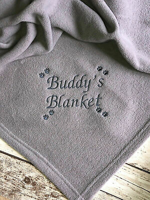 Personalised Dog Blanket Pet Cat Embroidered Fleece Named Puppy Kitten Gift