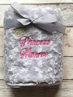 Personalised Luxury Baby Blanket Fluffy Soft Princess Prince New Baby Gift