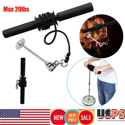 Forearm Roller Exercise Hand Wrist Grip Workout Weight Strength Gym Bar Arm 20LB