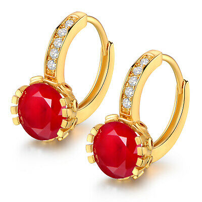 Vintage Retro 24K Gold Filled Red Crystal Gemstone Women Banquet Party Earrings