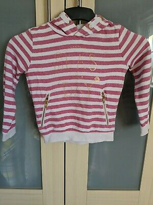 Age 6 Girls Pink And White Striped Hoodie