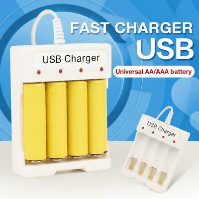 USB Battery Fast Charger 4 Slot Smart Adjustable Charging for Standard AA AAA