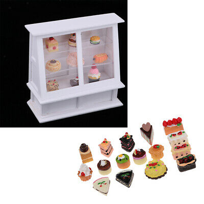 Wooden Cake Cabinet with 25 Pieces Cakes for 1/12 Desserts Shop&Home Display