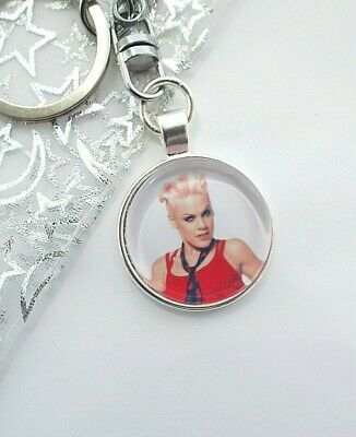 Pink Singer Photo Key Ring Strong Silver Plated Chain Gift Boxed Party Birthday
