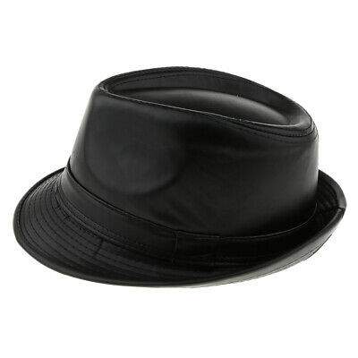 Mens Winter Fashion Leather Fedora Hat Church Gentleman Panama Felt Jazz Cap