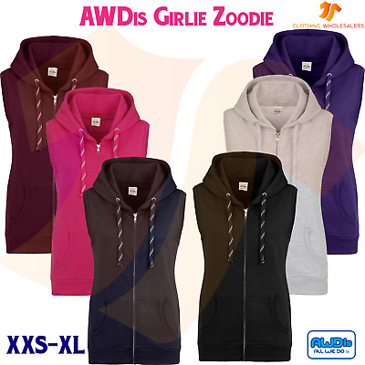 3daefe8b9948c AWDis Girlie Sleeveless Zoodie Ladies Zipped Hoodie Casual Pullover Fashion  TOP
