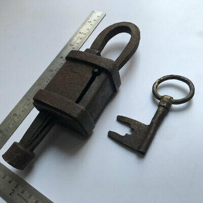 An old or antique iron padlock lock with original key MOST RARE & EARLY