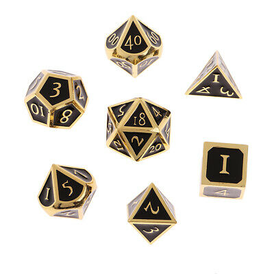 7-Die Set Metal Opaque Multi-sided Dice Set for Dungeons D&D TRPG Role Play