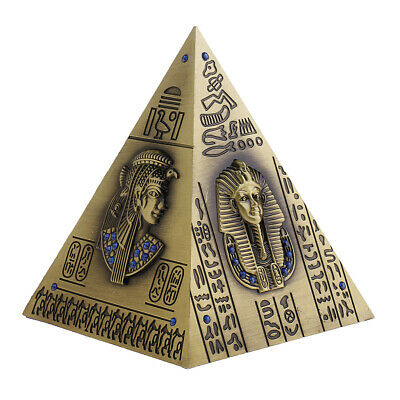 Egyptian Pyramid Metal Figurine Create Craft Desktop Decor Piggy Bank Bronze