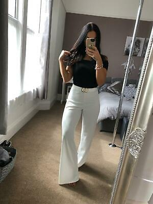 White Ivory Stretch Trousers Palazzo Pants Gold Buckle Trim Elasticated UK
