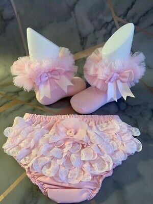 Baby Girls Frilly Knickers & Tutu Frilly Socks Set - Frilly Ankle Socks / Tutu