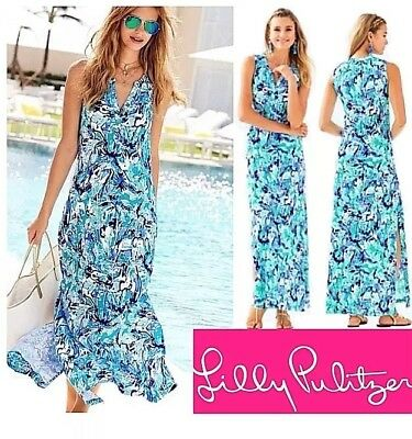 b8f7f6f48597 Lilly Pulitzer Essie Maxi Dress Blue Tropical Turquoise Elephant Appeal Sz M
