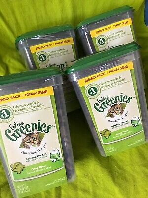 Case Of 4 New Sealed FELINE GREENIES Dental Cat Treats Oven Roasted Catnip 11oz