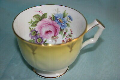 Vint Aynsley bone china orphan Tea Cup,petal-Yellow,White, Floral with Pink Rose