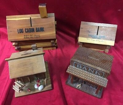Lot 4 Vintage Wood Log Cabin Coin Bank Saving Treasure Osage Buffalo Bill's West
