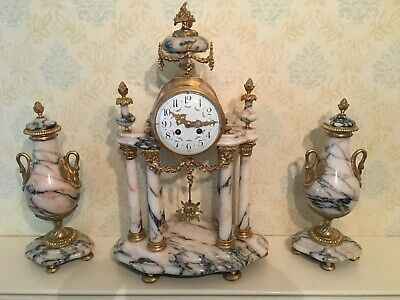 Late 19th Century Marble Ormolu Mantel Clock Garniture Urns