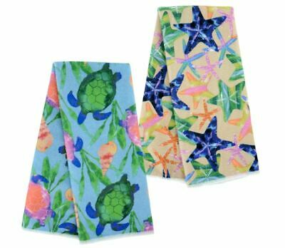 Set of 2 Sea Turtle Star Fish Beach Decor Luau Party Kitchen Hand Towel Lot