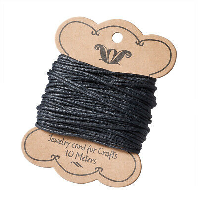 10m Black Waxed Cotton Cord Thread String For DIY Bracelet Jewelry Making 1.5mm
